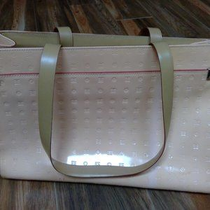 Peachy, shiny, leather tote.